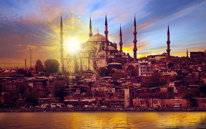 Istanbul 4k Blue Mosque Sunset Panorama Turkey