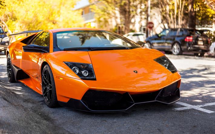 Download Wallpapers Lamborghini Murcielago Lp 670 4 Orange Sports