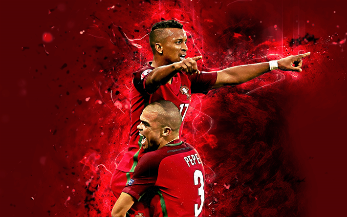 4k, Luis Nani, Pepe, goal, Portugal National Team, fan art, Nani, soccer, footballers, neon lights, Portuguese football team