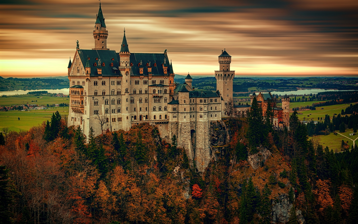 Neuschwanstein Castle, autumn, forest, romantic castle, Landmark, skyline, Bavaria, Germany