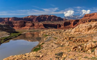 Grand Canyon, Colorado River, evening, red rocks, mountain landscape, Utah, USA, North America, Grand Canyon National Park