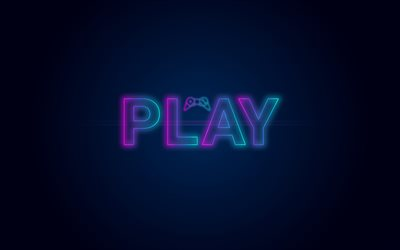 Play, video game, Play concepts, PlayStation, neon light logo, blue background, PS4 concepts, game console