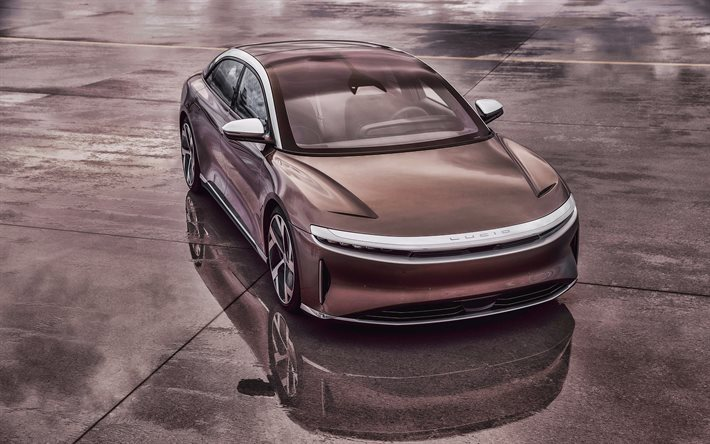 2021, Lucid Air, 4k, front view, exterior, luxury electric car, new brown Lucid Air, electric coupe, Lucid