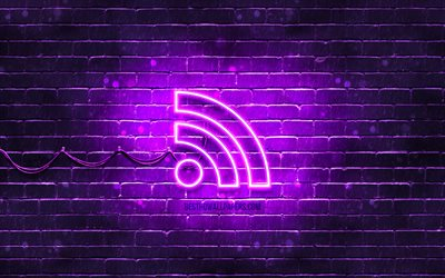 RSS neon icon, 4k, violet background, neon symbols, RSS, creative, neon icons, RSS sign, computer signs, RSS icon, computer icons