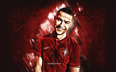 Cristiano Ronaldo, Portugal national football team, 2020, CR7, portrait, photoshoot, Portugal, burgundy stone background, football