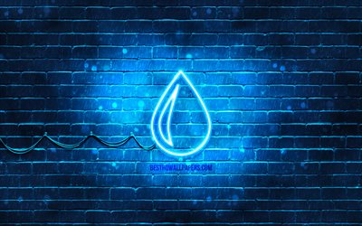 Water neon icon, 4k, blue background, neon symbols, Water, creative, neon icons, Water sign, ecology signs, Water icon, ecology icons