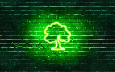 Tree neon icon, 4k, green background, neon symbols, Tree, creative, neon icons, Tree sign, ecology signs, Tree icon, ecology icons