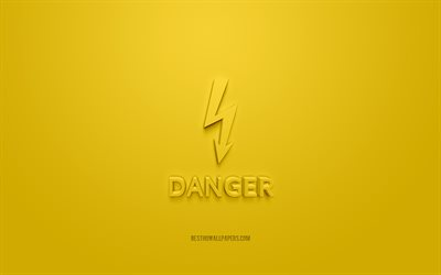 Danger 3d icon, yellow background, 3d symbols, Danger, Danger electricity 3d icon, 3d icons, Danger sign, Warning 3d icons