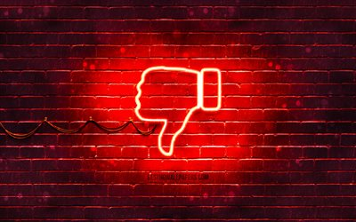 DisLike neon icon, 4k, red background, neon symbols, DisLike, creative, neon icons, DisLike sign, computer signs, DisLike icon, computer icons