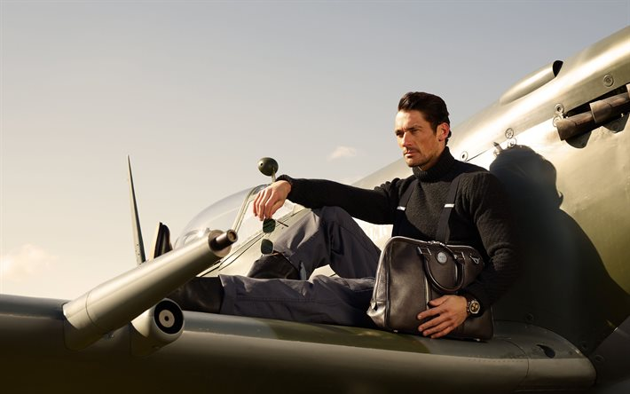 David Gandy, mannequin britannique, séance photo dans l'avion, David James Gandy