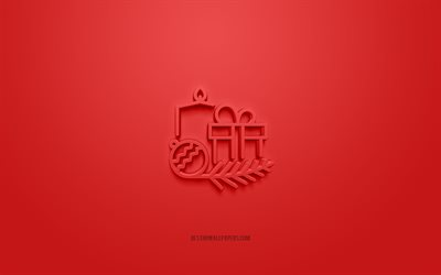 Christmas gift 3d icon, red background, 3d symbols, Christmas gift, creative 3d art, 3d icons, Christmas gift sign, Christmas 3d icons