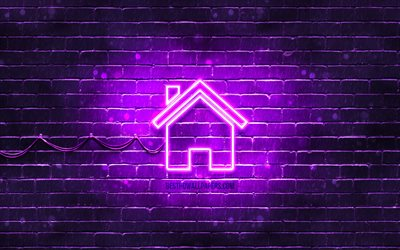 Home neon icon, 4k, violet background, neon symbols, Home, creative, neon icons, Home sign, computer signs, Home icon, computer icons