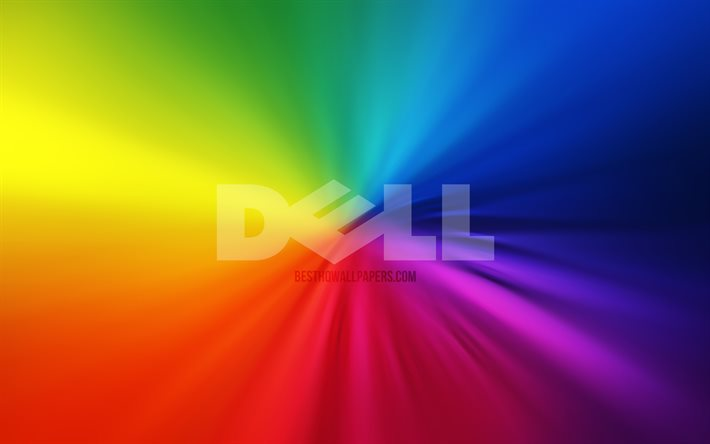 Dell logo, 4k, vortex, rainbow backgrounds, creative, artwork, brands, Dell