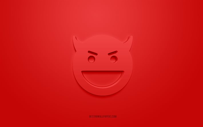 Devil 3d icon, red background, 3d symbols, Devil, creative 3d art, 3d icons, Devil sign, Emotions 3d icons