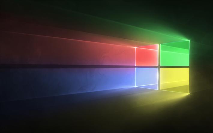 تحميل خلفيات ويندوز 10 4k خلفية رمادية شعار الملونة مايكروسوفت