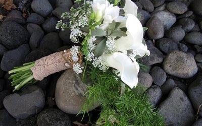 wedding bouquet, white lilies, bridal bouquet, white flowers, wedding concepts