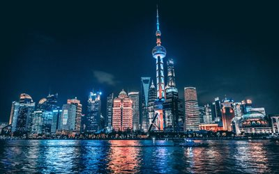 4k, Oriental Pearl Tower, night, Shanghai, cityscapes, Huangpu River, TV tower, China, Asia, Shanghai TV Tower