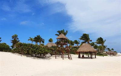 tropical islands, beaches, palm trees, summer, Mexico, holidays, travel