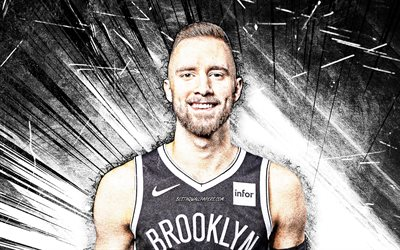 4k, Dzanan Musa, grunge art, Brooklyn Nets, NBA, basketball, Dzanan Musa Brooklyn Nets, white abstract rays, Dzanan Musa 4K