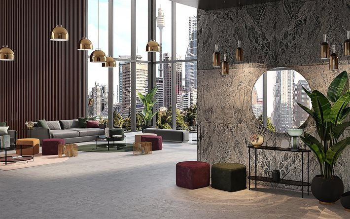 luxury interior design, living room, gold metal fixtures, black marble walls, gray marble floor in the living room