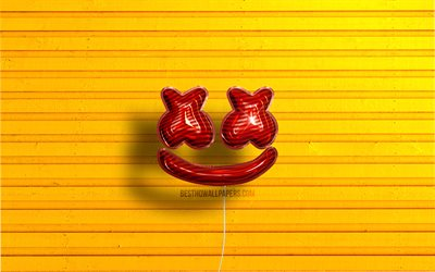 Marshmello logo, 4K, Christopher Comstock, red realistic balloons, american DJs, Marshmello 3D logo, Marshmello, yellow wooden backgrounds, DJ Marshmello