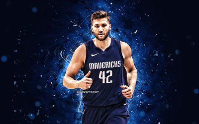 Maxi Kleber, 4k, Dallas Mavericks, NBA, basketball, Maximilian Kleber, Maxi Kleber Dallas Mavericks, blue neon lights, Maxi Kleber 4K