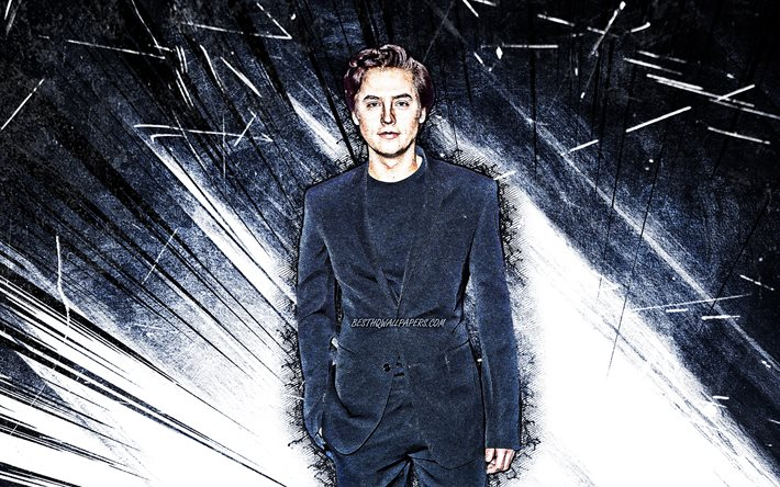4k, Cole Sprouse, grunge art, american actor, movie stars, fan art, Cole Mitchell Sprouse, american celebrity, white abstract rays, Cole Sprouse 4K