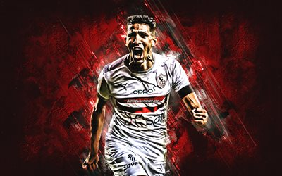 Ahmed Fatouh, Zamalek SC, Egyptian footballer, Egyptian Premier League, red stone background, football