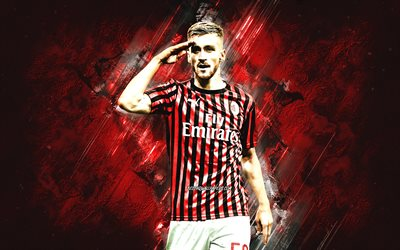 Alexis Saelemaekers, AC Milan, Belgian footballer, midfielder, portrait, red stone background, soccer