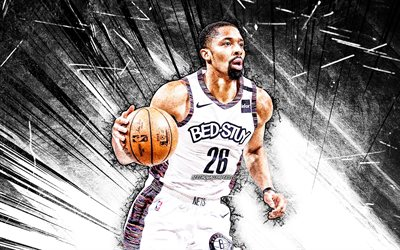 4k, Spencer Dinwiddie, grunge art, Brooklyn Nets, NBA, basketball, Spencer Gray Dinwiddie, USA, Spencer Dinwiddie Brooklyn Nets, white abstract rays, Spencer Dinwiddie 4K
