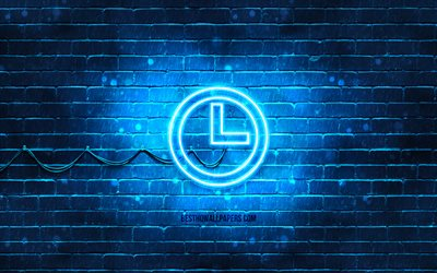 Time neon icon, 4k, blue background, neon symbols, Time, neon icons, Time sign, computer signs, Time icon, computer icons
