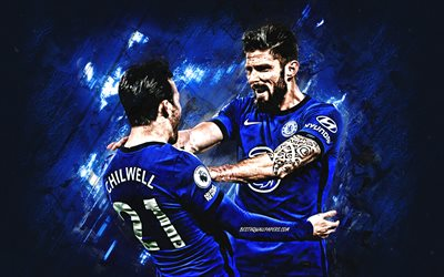 Chelsea FC, Olivier Giroud, Ben Chilwell, blue stone background, football, Premier League, England