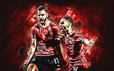 Amr Elsolia, Hussein El Shahat, Al Ahly SC, Egyptian Premier League, red stone background, football, Al Ahly