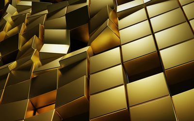 gold 3d blocks, 3d gold cubes texture, gold cubes, gold 3d background, 3d gold bars