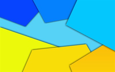 geometric abstraction, material design, yellow blue abstraction, geometric shapes