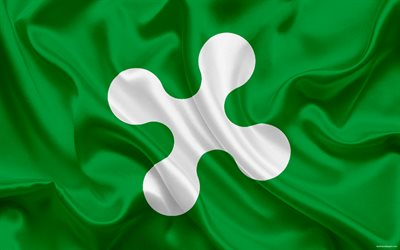 Flag of Lombardy, administrative area, Italy, Lombardy, national symbols, green silk