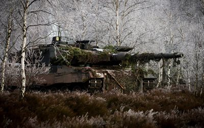 Leopard 2a6m, 4k, German battle tank, modern armored vehicles, forest, winter camouflage, Leopard 2, tanks