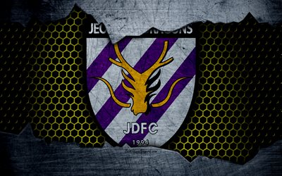 Jeonnam Dragons, 4k, logo, K-League Classic, soccer, football club, South Korea, grunge, metal texture, Jeonnam Dragons FC