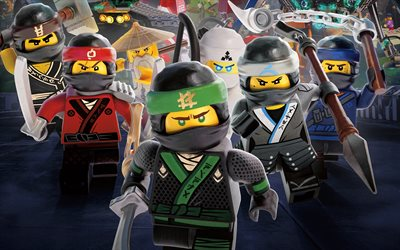The Lego Ninjago Movie, 4k, Ninja Warriors, 2017 movie, 3d animation, poster
