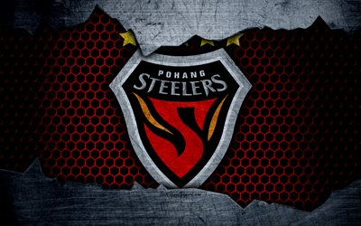 Pohang Steelers, 4k, logo, K-League Classic, soccer, football club, South Korea, grunge, metal texture, Pohang Steelers FC