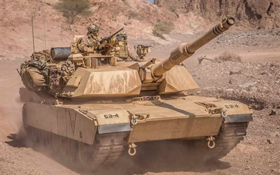 Abrams M1A1, US main battle tank, US Army, desert, modern armored vehicles, tanks