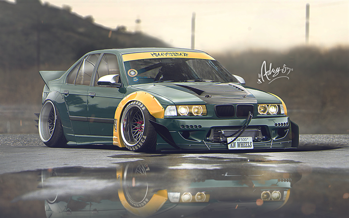 Download Wallpapers 4k E36 Bmw 3 Series Artwork Stance Tuning German Cars Green E36 Bmw For Desktop Free Pictures For Desktop Free