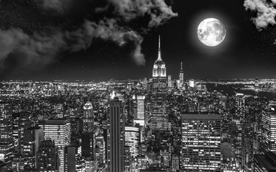 4k, Manhattan, moon, New York, monochrome, NYC, nightscapes, NY, USA, America