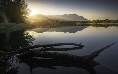 Digue de Peri, morning, lake, mountains, Corsica, France