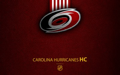 Carolina Hurricanes, HC, 4K, hockey team, NHL, leather texture, logo, emblem, National Hockey League, Raleigh, North Carolina, USA, hockey, Eastern Conference, Metropolitan Division