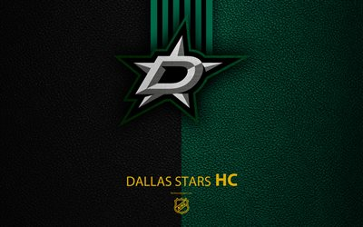 Dallas Stars, HC, 4K, hockey team, NHL, leather texture, logo, emblem, National Hockey League, Dallas, Texas, USA, hockey, Western Conference, Central Division