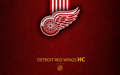 Detroit Red Wings, HC, 4K, hockey team, NHL, leather texture, logo, emblem, National Hockey League, Detroit, Michigan, USA, hockey, Eastern Conference, Atlantic Division