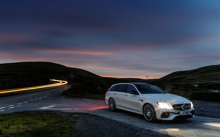 Download wallpapers 4k, Mercedes-AMG E63 Estate, night ...