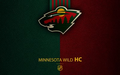 Minnesota Wild, HC, 4K, hockey team, NHL, leather texture, logo, emblem, National Hockey League, Minnesota, USA, hockey, Western Conference, Central Division