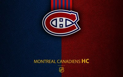 Montreal Canadiens, HC, 4K, hockey team, NHL, leather texture, logo, emblem, National Hockey League, Quebec, Canada, hockey, Eastern Conference, Atlantic Division